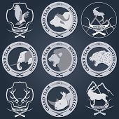 Hunting club label collecton. Grand safari logos and budges. Vector illustration