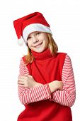 Beautiful Girl In Red Santa Hat Isolated