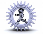 stock photo of mechanical engineer  - 3d Render of robots with gear mechanism - JPG