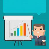 Businessman points on flip-chart concept