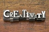 creativity word in mixed vintage metal type printing blocks over grunge wood