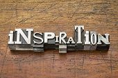inspiration word  in vintage metal type printing blocks over grunge wood