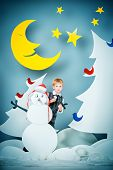 foto of boys night out  - Cheerful boy in a cartoon fairy snowy forest - JPG