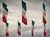 Vintage Colored Waving Iranian Flags