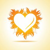 Abstract valentine day card with fire heart background, vector illustration