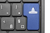 Go To Washington D.c.!. Blue Hot Key On Computer Keyboard.