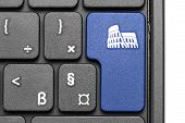 Go To Rome!. Blue Hot Key On Computer Keyboard.