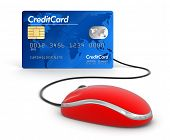 Credit Card and Computer Mouse (clipping path included)