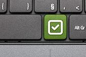 Checked. Green Hot Key On Computer Keyboard.