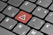 Alert. Red Hot Key On Computer Keyboard.
