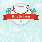 Merrychristmas Illustration On Snowflakes Blue Background