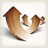 Abstract Wood Rising Arrows