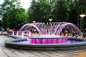 Fountain Dancing With Music And Changing Colors In Druskininkai City