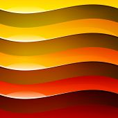 Abstract red, orange and yellow shiny wave shapes backgroun