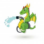 cute cartoon fire fighter dragon vector illustration