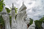 Many Headed Naga Statue Closeup - Decoration At Every Buddhist Temple In Thailand