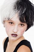 Young Girl In Wig And Scary Makeup