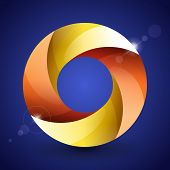 Moebius origami red, orange and yellow paper circle on blue background