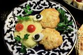 Chicken Cutlets With Mashed Potatoes And Vegetables