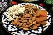 Plate With Nuts And Dried Apricots