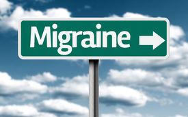 stock photo of lobbyist  - Migraine creative green sign - JPG