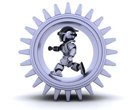 stock photo of mechanical engineer  - 3d Render of robots with gear mechanism - JPG