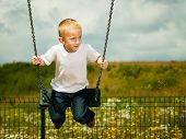 picture of swing  - Little blonde boy having fun at the playground - JPG