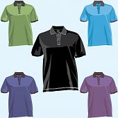 image of v-neck collar  - Polo shirt templates with collar in different easily editable layers - JPG