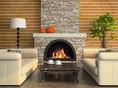 stock photo of lamp shade  - Part of the modern interior with fireplace 3D rendering - JPG