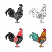 stock photo of black-cock  - Monochrome silhouette and colorful vector illustration of the cock - JPG