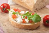 image of tomato sandwich  - Healthy mediterranean sandwich with cheese tomato olive oil and rocket - JPG