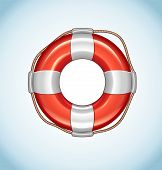 foto of life-support  - Vector Icon of Red Life Buoy on blue background - JPG