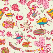 picture of summer insects  - Cute cartoon insect pattern - JPG