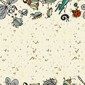 image of summer insects  - Cute cartoon insect border pattern - JPG