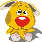 stock photo of sadistic  - puppy offended toy yellow color in the vector - JPG