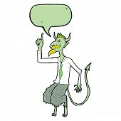 stock photo of demons  - cartoon demon boss in shirt and tie with speech bubble - JPG