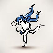 foto of judo  - judo vector symbol one wrestler throw another - JPG