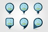 pic of windmills  - Windmill flat mapping pin icon with long shadow - JPG