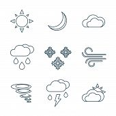 image of windy weather  - vector dark grey outline weather forecast icons set white background - JPG