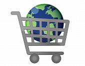 Globalización de carro de compras de mundial
