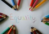 picture of equality  - Equality written with color pencils and also a frame for words - JPG