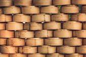 image of chinese food  - Stack of Chinese Bamboo Steamer for Steaming Chinese Food - JPG
