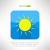 picture of hot-weather  - Bright yellow sun icon in modern flat design - JPG