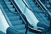 stock photo of escalator  - The escalator in shopping center in Europe - JPG