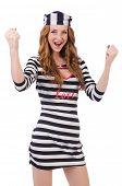 foto of prison uniform  - Pretty girl in prisoner uniform isolated on white - JPG