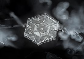 foto of prism  - A basic prism plate snowflake laying flat on a black glove.