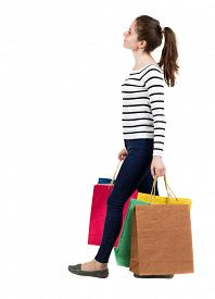 picture of women rights  - back view going  woman  with shopping bags  - JPG