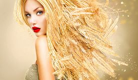 picture of cosmetic products  - Beauty Fashion model girl with gold long wheat ears hair - JPG