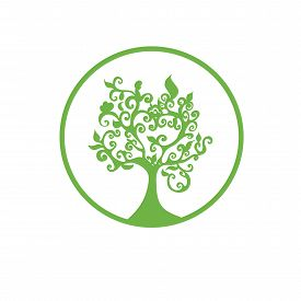 picture of logo  - Green  tree logo isolated on white background - JPG