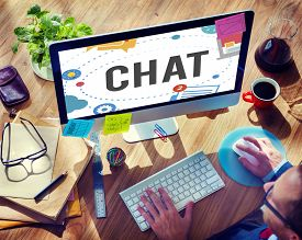 stock photo of chat  - Chat Chatting Online Messaging Technology Concept - JPG